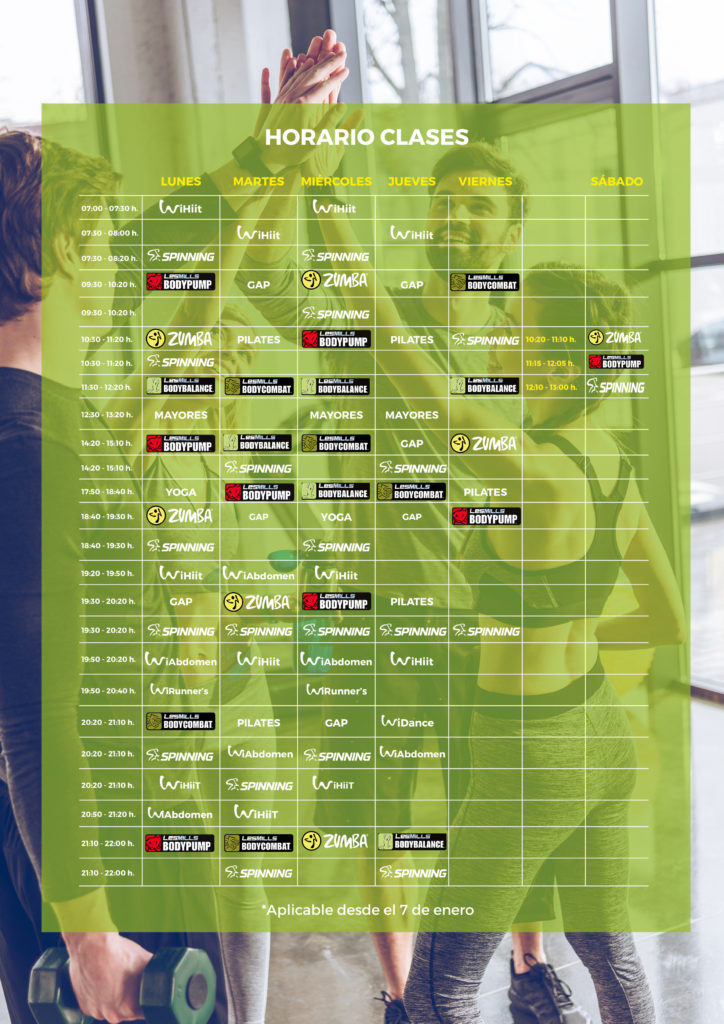 horario desde el 7 enero wifit gym Madrid